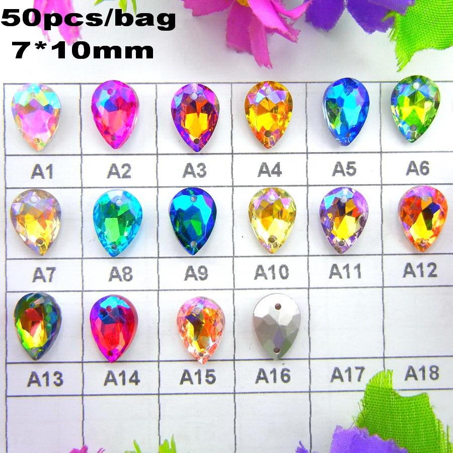 Shoe ornament clips - Ab Colors Two Holes 7 10mm 50pcs Bag Sew On Waterdrop Tear Shape Glass Crystals Garment Shoes Wedding Dress Ornament Diy Trim