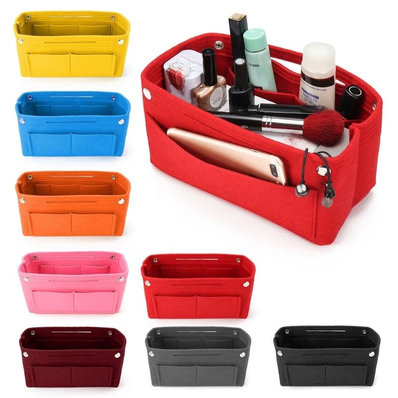 THINKTHENDO 1PC Multifunction Handbag Cosmetic Organizer Purse Insert Bag Felt Fabric Storage Pouch Case