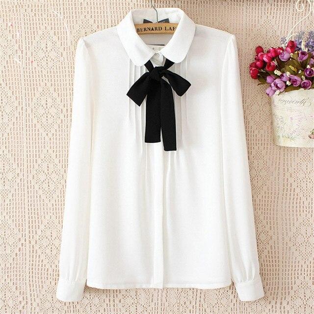 28ccaa3348f Модная женская элегантная обувь с бантом белые блузки шифон закругленный отложной  воротник Повседневная рубашка Дамы топы