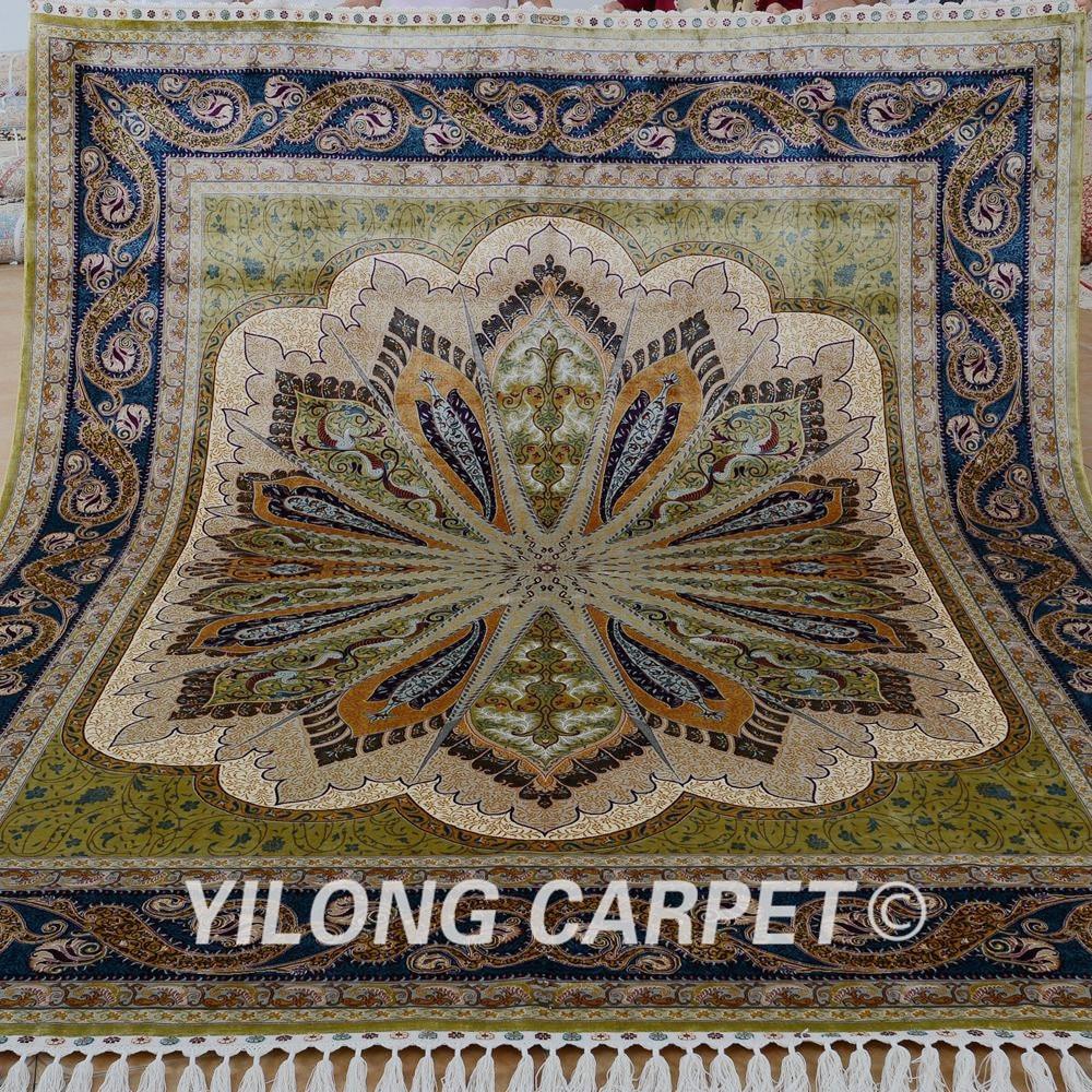 Yilong 8'x10' Handmade Oriental Rug Large Antique Green