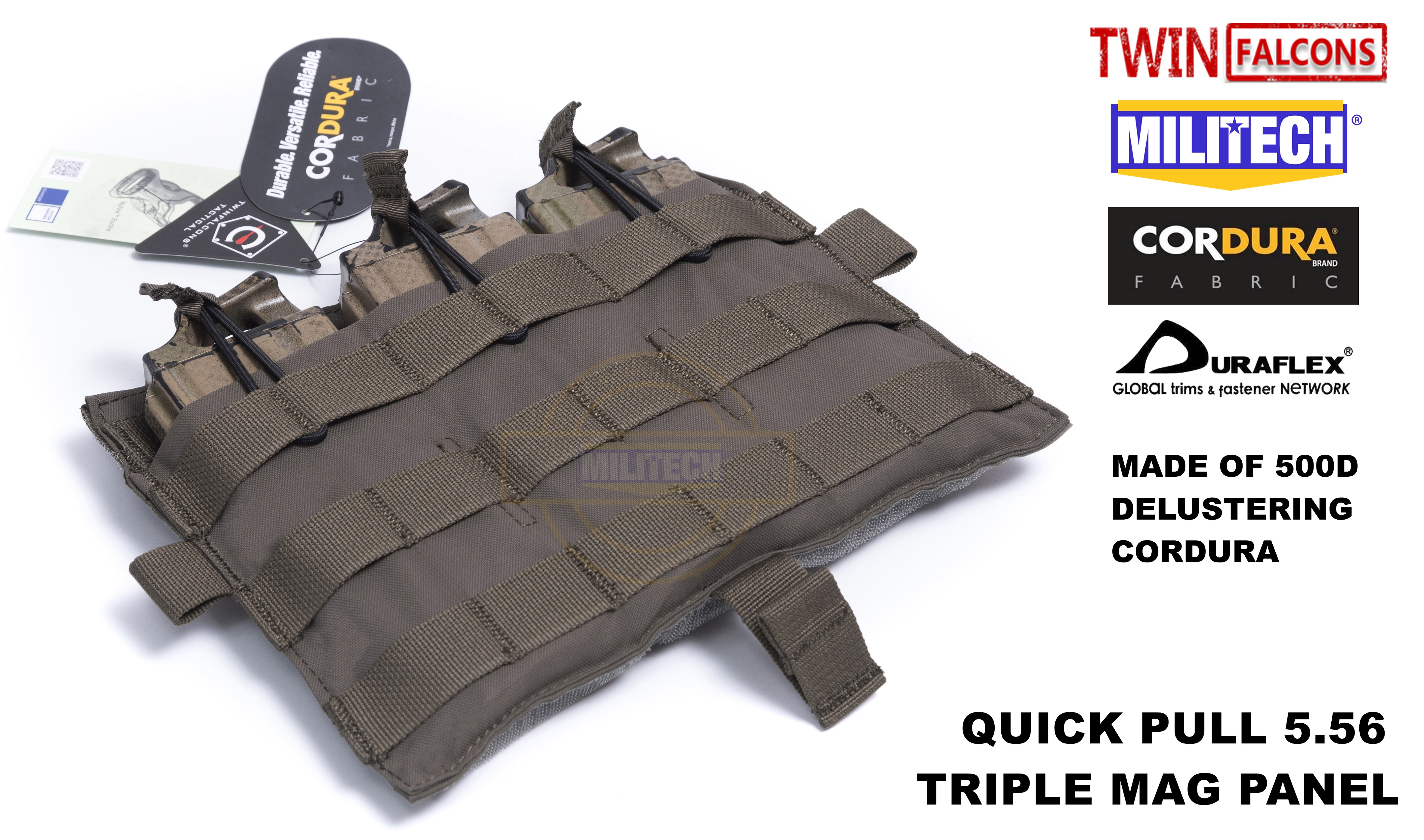 MILITECH TWINFALCONS TW Delustered Crye CP Detachable Flap Triple M4 5.56 Mag Flat Panel For AVS CPC JPC 2.0 FCSK 2.0