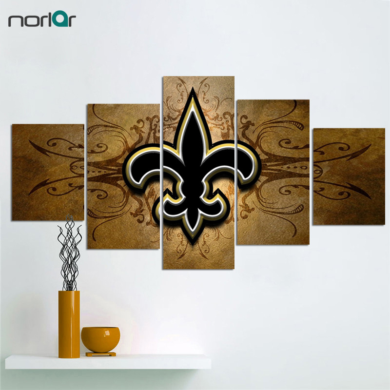5 Pieces Prints New Orleans Saints Fans Hot Canvas Painting Wall