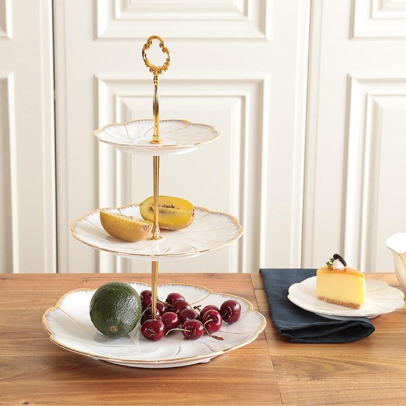 Assiettes à desserts de gâteau en or | Incrustation en or assiettes à 2/3 couches, assiettes à vaisselle, plateau en céramique - 2