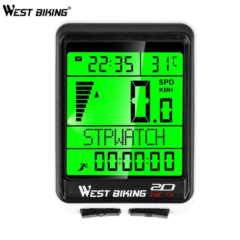 WEST BIKING Wireless Bike Computer 5 Language Available Waterproof Cycling Stopwatch Speedometer MTB Road Bike Bicycle Computer