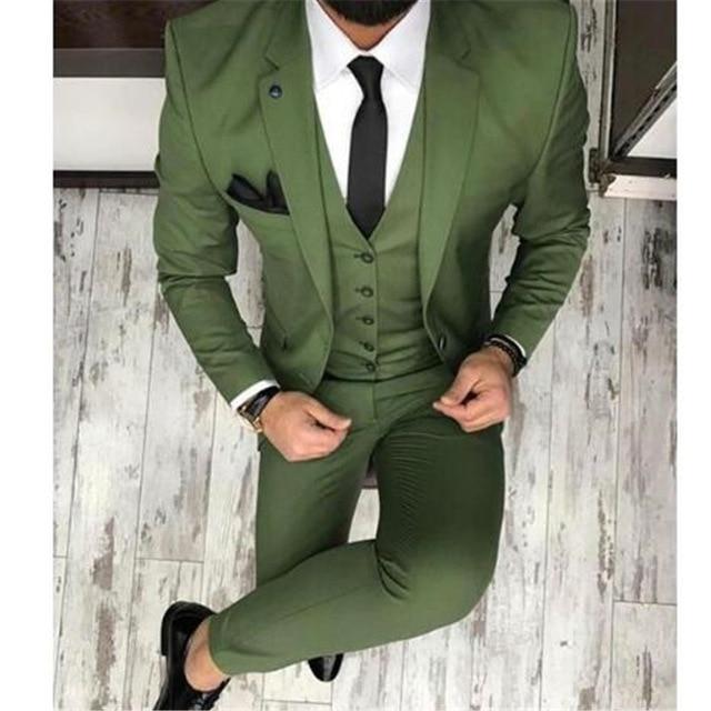 Men Green Wedding Suit Slim Fit Groom Tuxedos Suit Man Groomsmen Custom Made