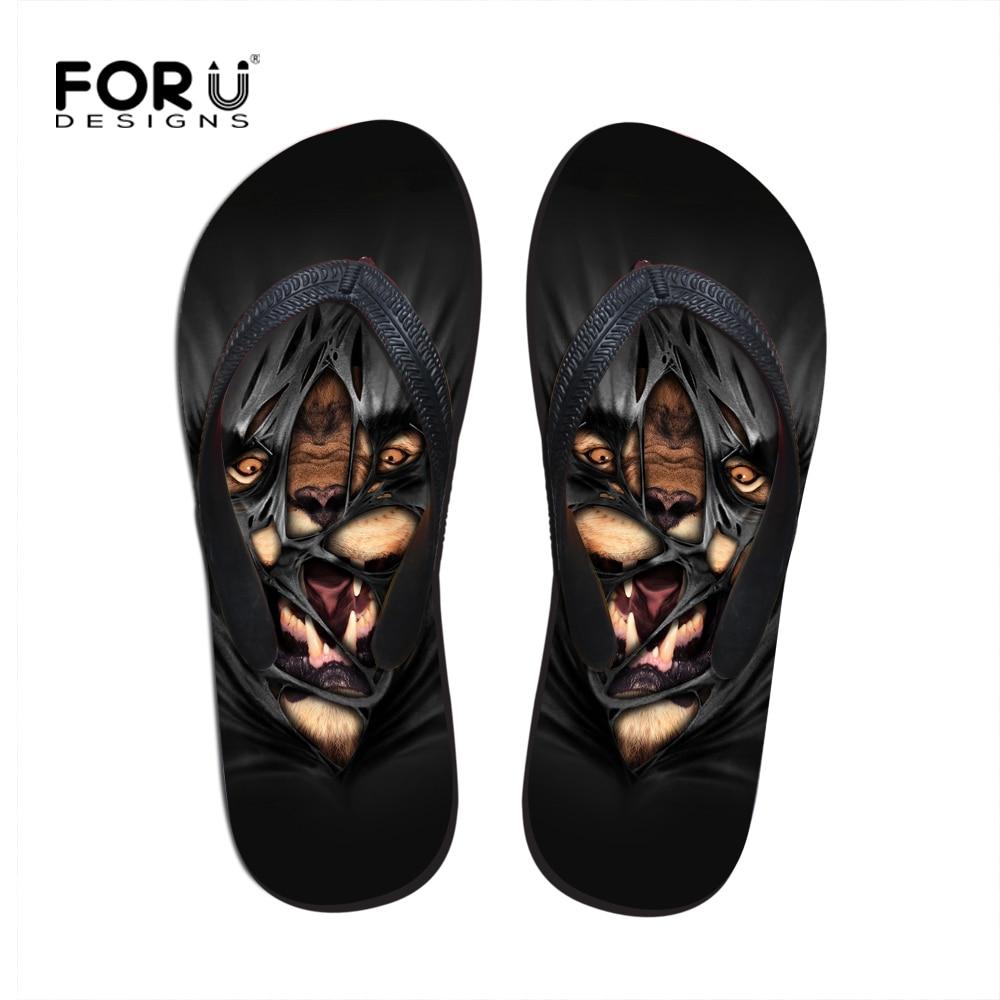 Black Animal Flip Flops