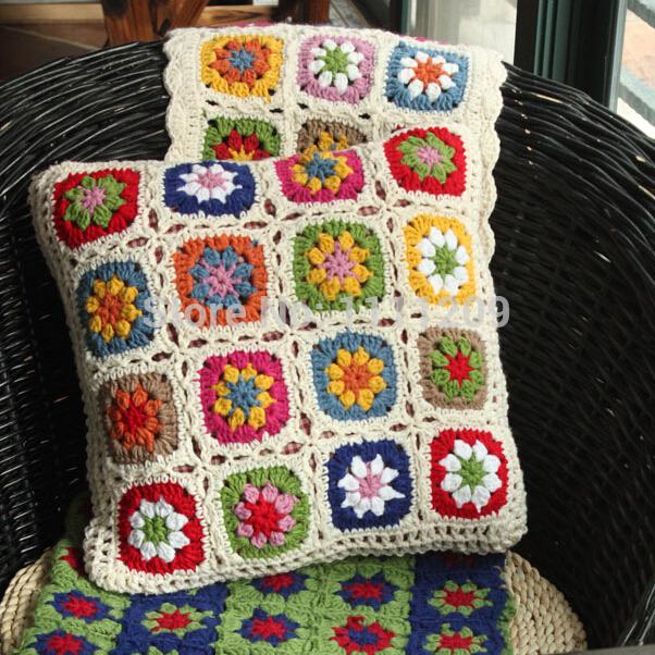 nrdico de alta calidad crochet cama almohada cojn tejido a mano de la margarita flor de regalo de boda cojn fundas de cojines