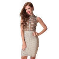 2018 Women Evening Party Bandage Dresses Fashion Mesh Sleeveless Above Knee Celebrity Sexy Club Ladies Summer Dress
