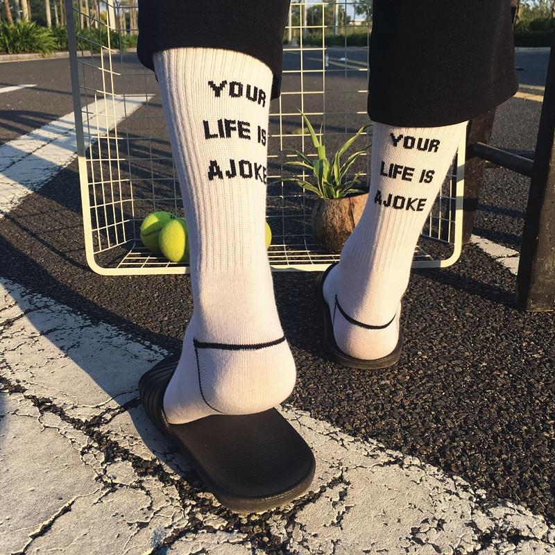 Fashion Letter Harajuku Socks Mens Hipster White Short Socks Crew Compresion Popular Skateboard Low Cotton Socks Art Male Sox(China)