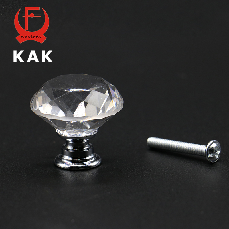 KAK 20-40mm Diamond Shape Design Crystal Glass Knobs Cupboard Drawer Pull Kitchen Cabinet Door Wardrobe Handles Hardware 10 pcs 30mm diamond shape crystal glass drawer cabinet knobs and pull handles kitchen door wardrobe hardware accessories