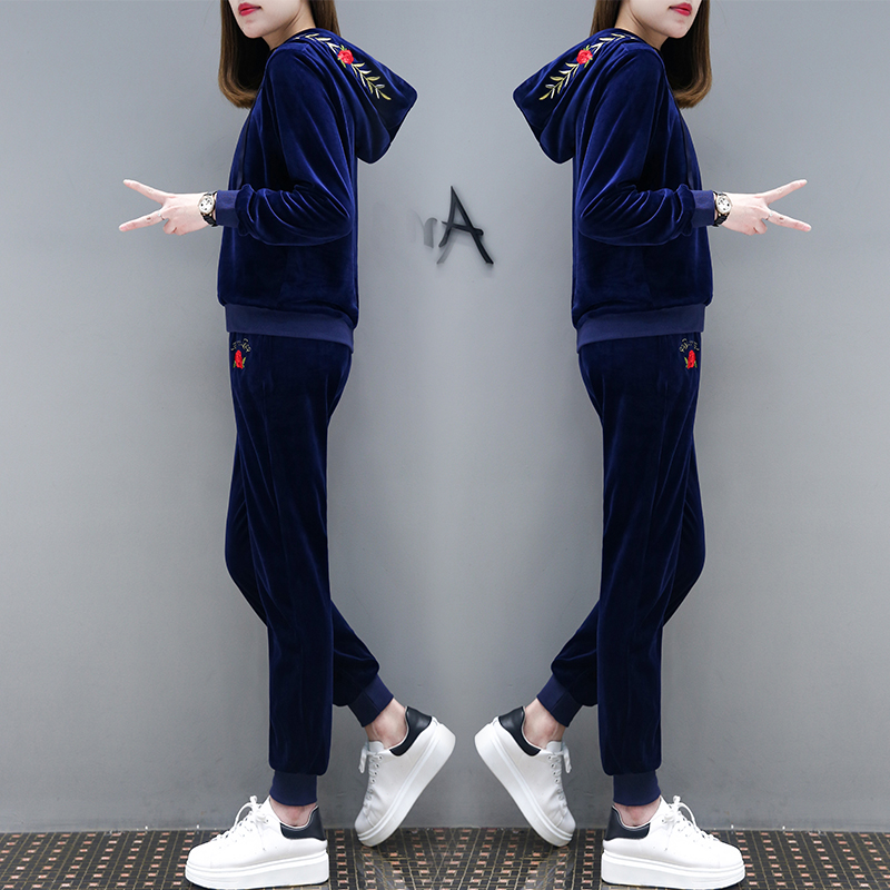 48aaf0a057f two piece women suit velvet spring and autumn long sleeved hoodies pants  navy blue clothing set pullovers top outfit girl sets-in Hoodies    Sweatshirts from ...