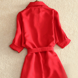 Image 5 - Женское шифоновое платье туника, повседневное офисное однотонное красное платье с поясом, лето 2019