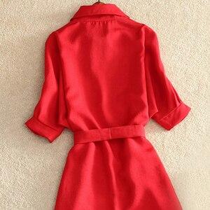 Image 5 - เสื้อผู้หญิง 2019 ฤดูร้อนชุดลำลองแฟชั่นสำนักงานสุภาพสตรีสีแดงชุดชีฟองสำหรับผู้หญิงSashesเสื้อสุภาพสตรีVestidos Femme