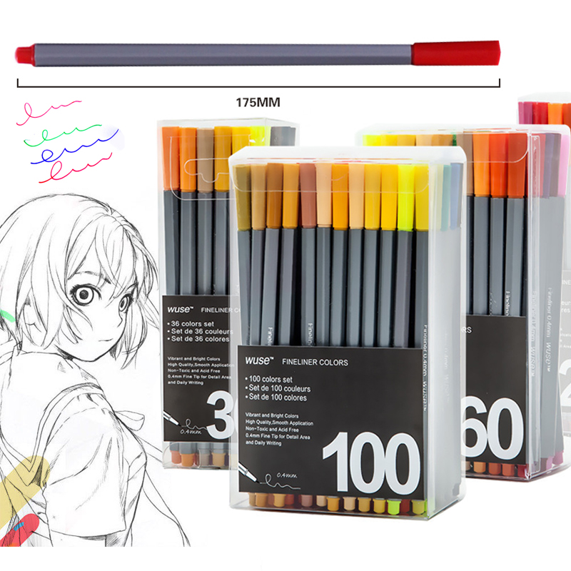 100color Fine Liner Pen Set Micron Sketch Marker Colored 0.4mm Coloring for Manga Art School Needle Drawing Sketch Marker Comics touchnew 60 colors artist dual head sketch markers for manga marker school drawing marker pen design supplies 5type