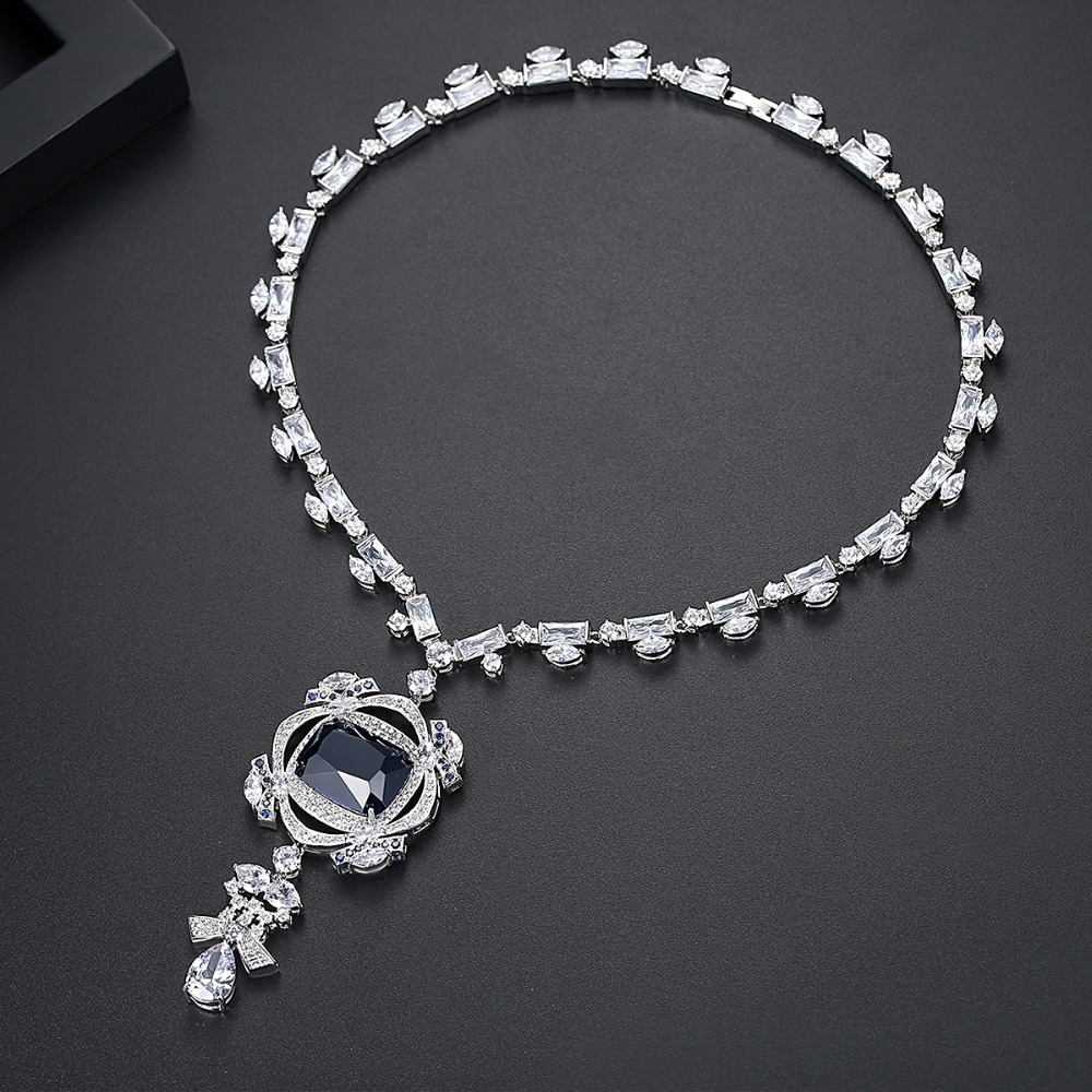 LUOTEEMI océan coeur bleu foncé bijoux collier AAA cubique zircone mariée mariage luxe bijoux grand collier de déclaration cadeau - 4