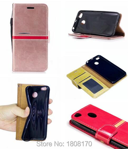 Hit Color Contrast Wallet Leather Pouch Case For Redmi 4X For LG G6 Sony Xperia XA1 Ultra Strap Stand TPU Phone Flip Cover 8pcs