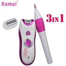 KEMEI 3 in 1 Rechargeable Women Hair Shaver Female Epilator Nail Grinder Polisher Kit Trimmer Lady Hair Epilator KM-3026