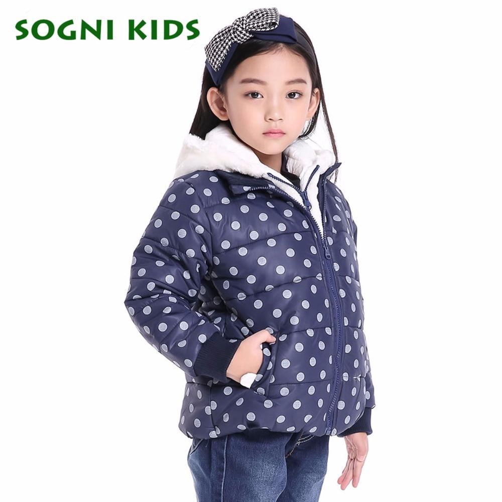 SOGNI ÇOCUK Kız Kış Parka Yeni Moda Çift Fermuar Marka çocuklar Pamuk Ceket Polka Dot Sıcak Kapşonlu Parka Kızlar Kış ceket