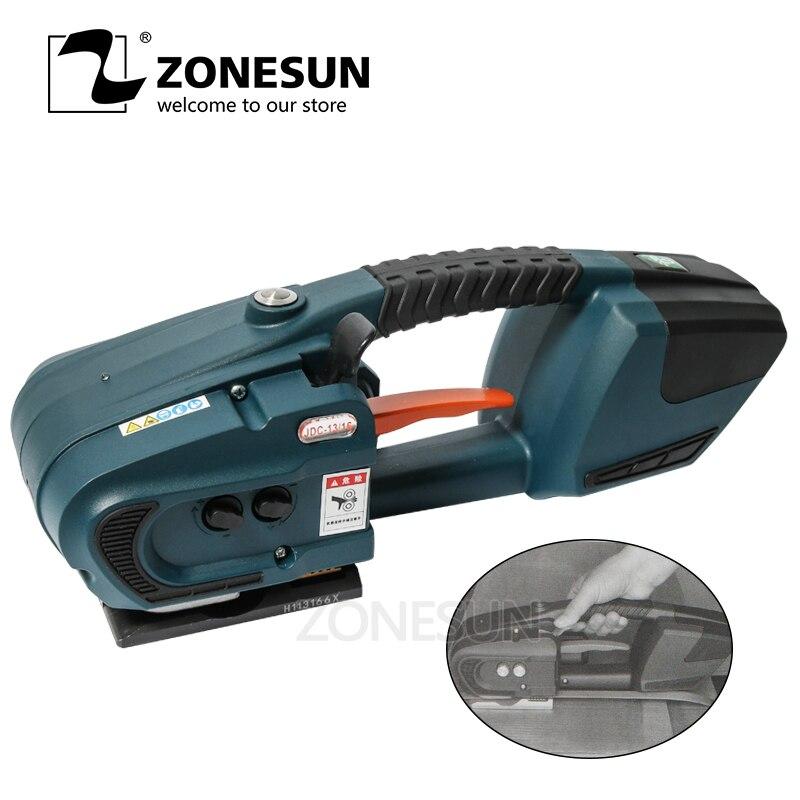ZONESUN обвязочная машина для 13 мм 16 мм PET/ PP пластиковые ремни для аккумулятора 4.0A/12В JDC упаковочная машина с 2 батареямиОберточные машины    АлиЭкспресс