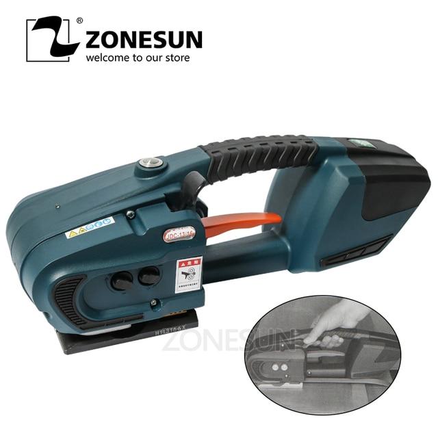 ZONESUN מכונת 13mm 16mm PET/ PP פלסטיק רצועות סוללה מופעל 4.0A/12V ג וינט גלישת מכונת עם 2 סוללות