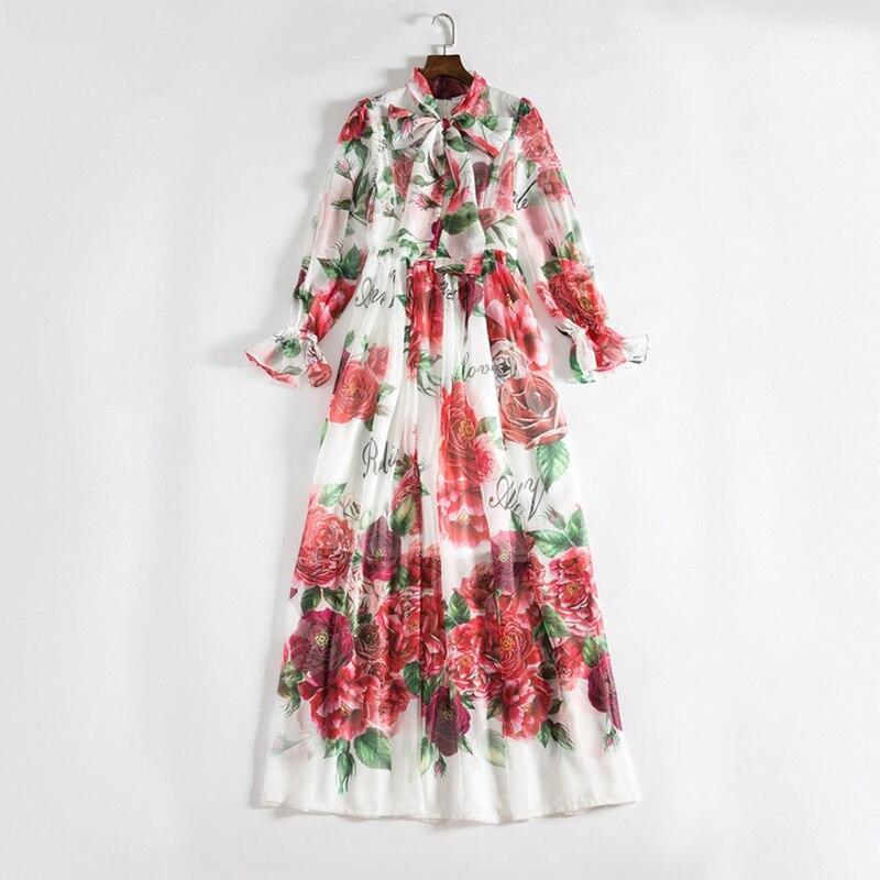 Pour Piste Longues Bohème Col Les Arc Imprimé Femmes Décontracté Maxi 2019 Design Printemps Robe Floral Blanc Robes t6wHvfq