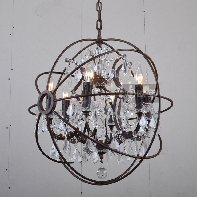 American luxury retro big crystal chandeliers wrought iron american luxury retro big crystal chandeliers wrought iron armillary sphere scandinavian living room lamp creative aloadofball Image collections