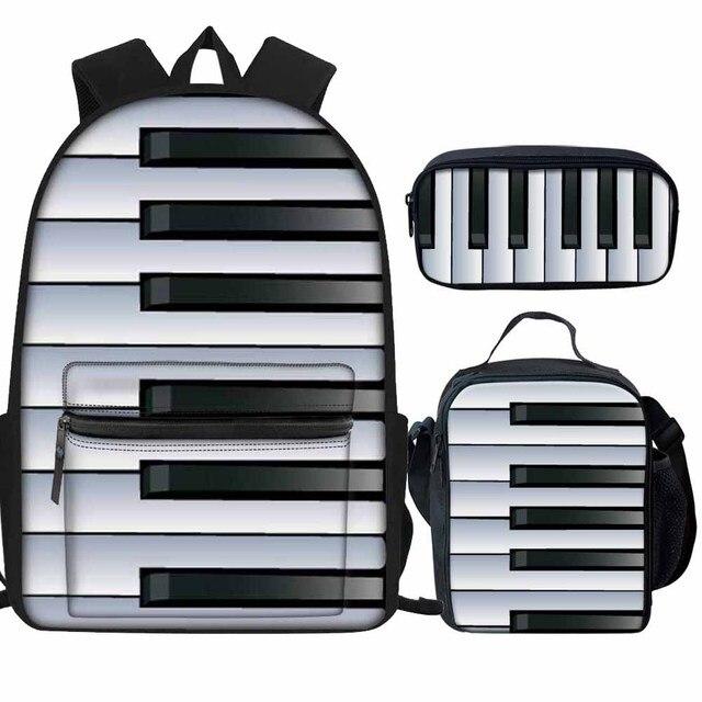 3 piezas niños bolsas de la escuela de música nota guitarra Panio teclado impresión de la lona mochila para niñas niños impermeable estudiante Bookbags