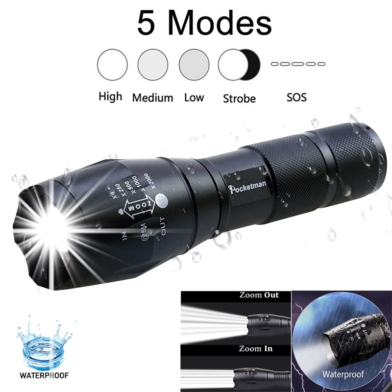 Accept Dropshipping 5 Modes Waterproof Zoomable LED Flashlight XML-T6 Tactical Flashlight + Non-slip Mini LED Torch