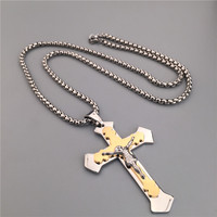 Jesus Christ Cross Pendant Crucifix Necklace Hip Hop Jewelry Christian Retro Mens Charms Box Chain Gold