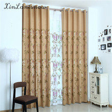 New Linen Polyester Cotton Pure Color Embroidery Flower Thickening Shading Beige Curtains for Living Dining Room