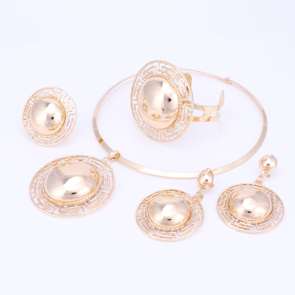 Wedding Bridal Jewelry Sets For Women Necklace Bracelet Earrings Rings Gold Color Dubai African Beads Statement Accessories 3