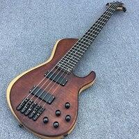 В наличии, 5 струн бас шеи через тело, бабочка бас гитара, очень милый деревянный шляпа с золотистые металлические части, реальное фото, беспл