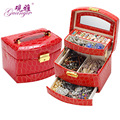 Guanya High Grade leather Jewelry Display Box 3 Layers Ring Necklace Jewelry Carrying Case Crocodile Print Lady Gift