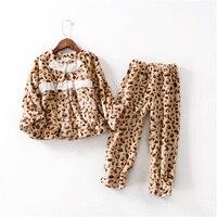 Fashion Flannel Kids Girls Pajama Set Leopard Children Pijamas Homewear Soft Warm Sleepwear Clothing Sets Baby Nightwear Pyjamas