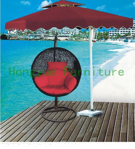 Outdoor rattan hanging hammock chair set furniture with cushions