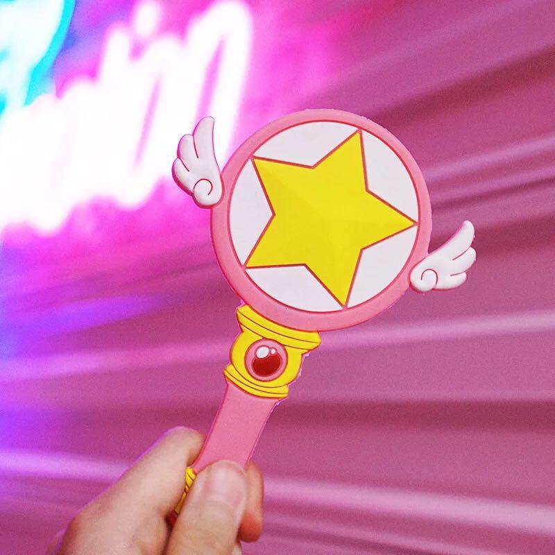 C&Z Cardcaptor Sakura Magic Wand Dreamlike with Angle Wings Mirror Pink Super Star Kawai Childrens Day Gift Creative Anime Toy