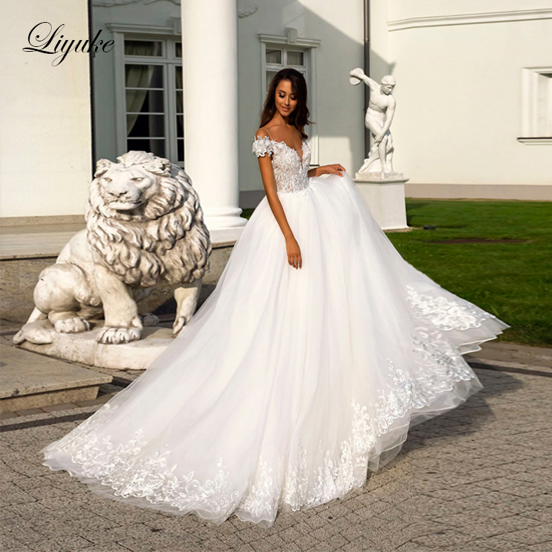 Liyuke Elegant Illusion V Neckline Ball Gown Wedding Dress Off The Shoulde Moden Appliques Wedding Gown