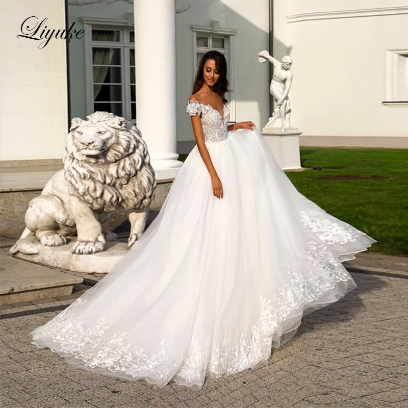 Liyuke Elegant Illusion V Neckline  Ball Gown Wedding Dress Off The Shoulde Moden Appliques Wedding Gown-in Wedding Dresses from Weddings & Events    1