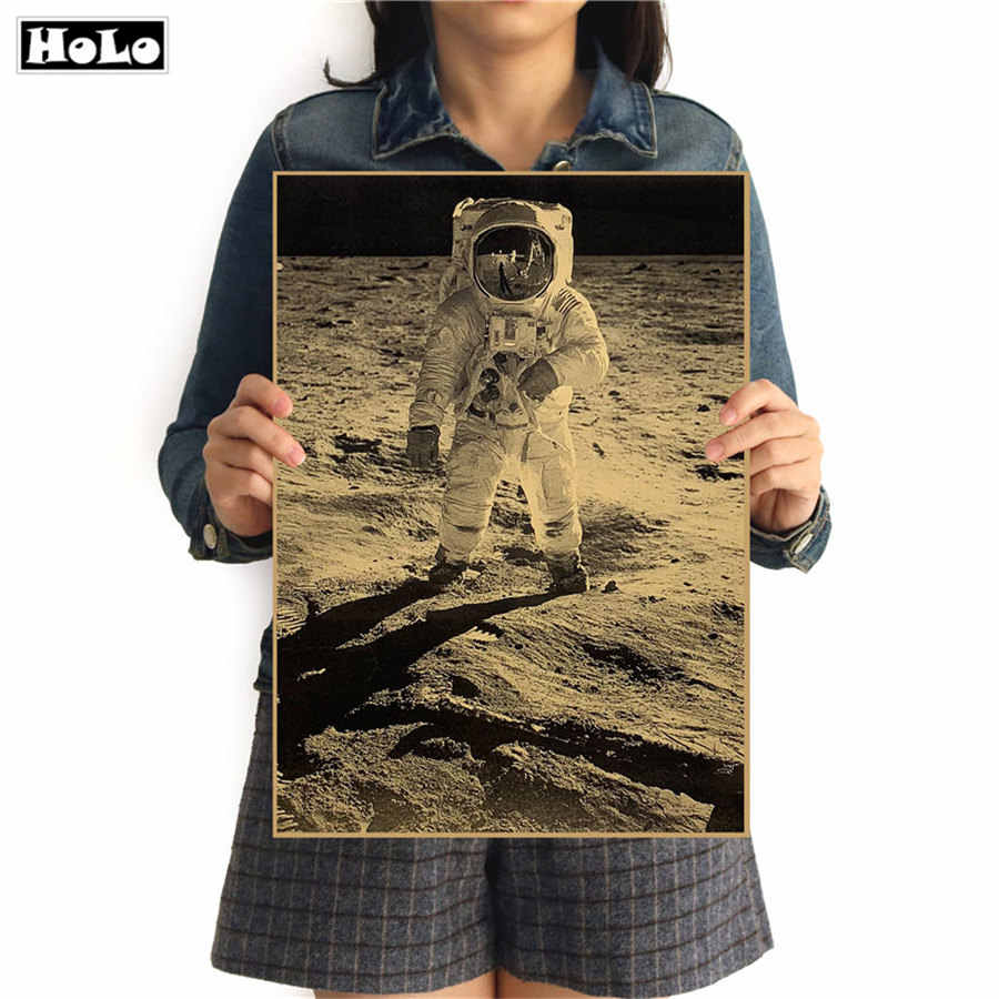 Old Photo Apollo moon landing History Movie poster vintage posters adornment of retro paper wall stickers 42x30cm GGB026