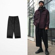 Черные Большие широкие брюки мужские Весна Осень Новые высокие уличные Свободные повседневные Прямые по щиколотку мужские и женские брюки