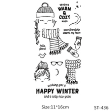 AZSG Winter Scarf Glove Lovely Girl Clear Stamps/Seal For DIY Scrapbooking/Card Making/Album Decorative Silicone Stamp Crafts