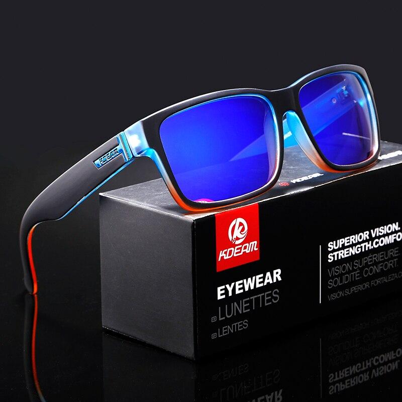 Umbau Von Sport Männer Sonnenbrille Polarisierte KDEAM Erschreckend Farben Sonnenbrille Outdoor Elmore Stil Sonnenbrille Mit Box