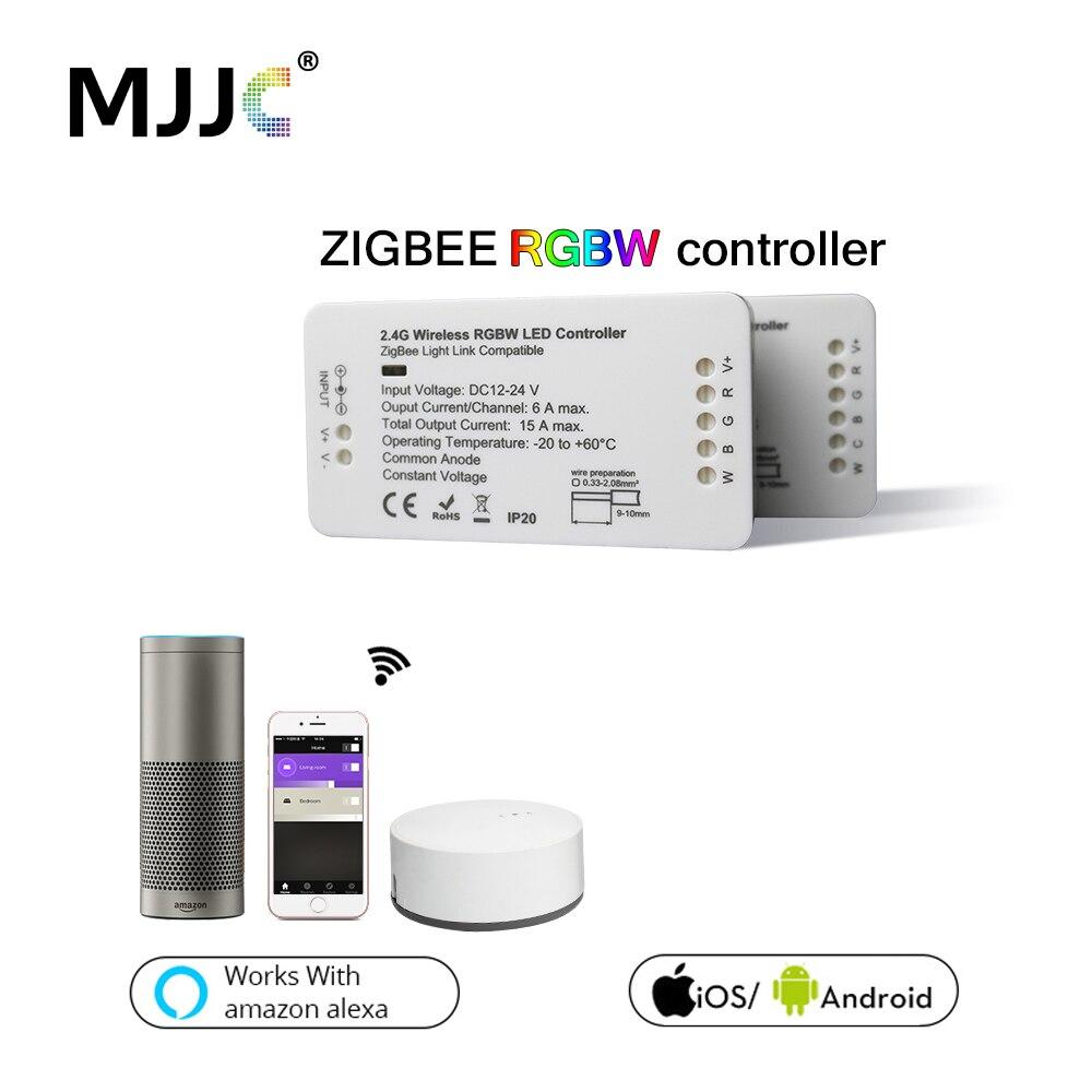 Zigbee LED de contrôle RVB CCT WW/CW Zigbee Contrôleur LED DC12V 24 V LED Contrôleur De Bande ZLL APPLICATION Contrôleur RGBW Maison Intelligente RVB