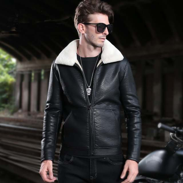 Winter Men One Fur Leather Thermal Quality PU Jackets Cool Thick  Motorcycle Leahter Coat Turn Down Collar Plus Size Outerwear