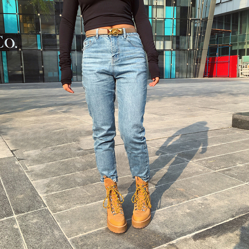 Spring One Piece Casual Women Jeans High Waist Loose Straight Light Washed Blue Retro Jeans Denim Pants For Winter