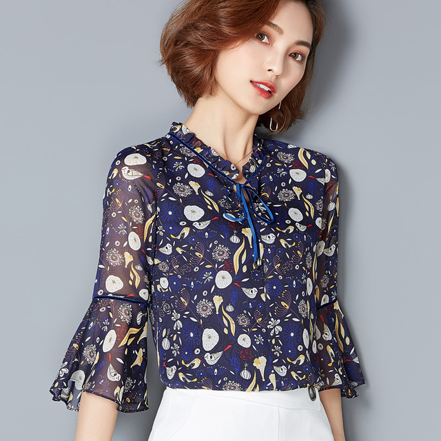 5ac2c2ba57 Women Chiffon Ruffles Lace Blouse Shirt 2018 Spring Summer New Hot Fashion  Female Plus Size Floral Printing Blouses Shirts Tops