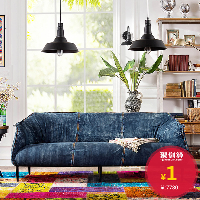 denim living room furniture wall art decor ideas brand troupe after modern vintage fabric sofa soft cloth bag