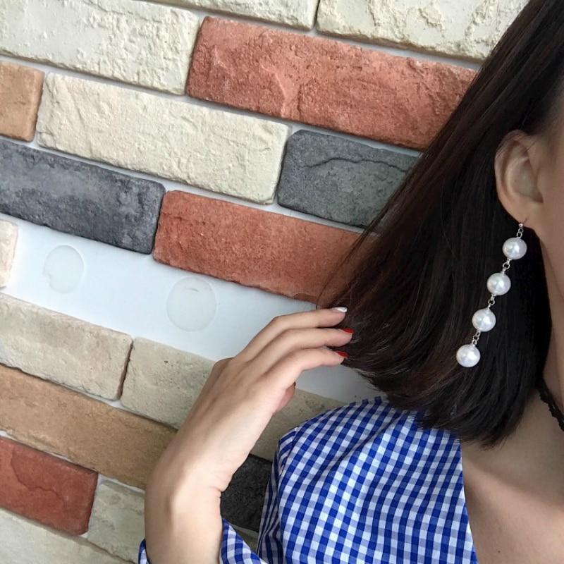 Fashion Long Round Imitation Pearl Simulated Drop Earrings For Women Of Korean Vintage Hangs Wedding Jewelry Oorbellen 2018