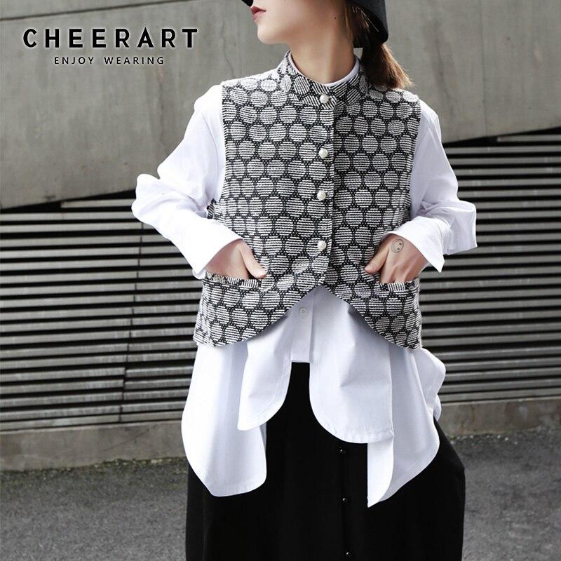 Cheerart жилет женский жаккардовый в горошек короткий жилет без рукавов жилет из бисера женский жилет