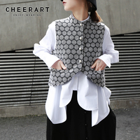 Cheerart Vest Women Jacquard Dot Short Sleeveless Jacket Vest Waistcoat Bead Ladies Vest